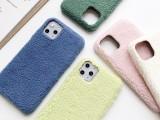 适用iphone11 新款布纹糖果色毛绒后盖式现货直发手机壳