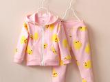 外贸童装2015新款女童可爱小黄鸭开衫外套+长裤儿童运动休闲套装