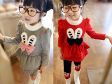 一件代发2014新款童装女童韩版秋冬装可爱兔子休闲加厚两件套套装