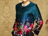 伊曼丝绸服饰中老年大码妈妈装中式真丝褶皱民族风开衫女外套批发