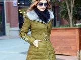 2014冬装新款毛领加厚棉服女士大码修身棉袄外套 PU皮中长款棉