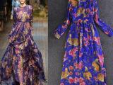 欧洲站欧美DG走秀夏季新款紫色印花飘逸真丝拖地长裙连衣裙批发