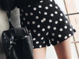 韩国 同款圆点高腰短款A字型波点热裤