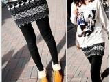 韩版夏季女士羊毛绒假两件全棉踩脚黑色小鹿裙裤打底裤批发 C096