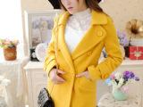 2014秋冬新款女装 韩版修身百搭翻领中长款毛呢外套 呢子风衣大