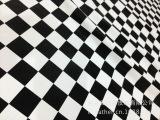 【企业集采】新款女装pu皮衣面料 仿羊皮 黑白格子贴膜 全棉底布