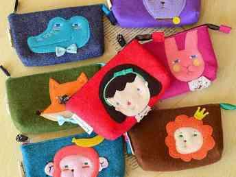 D038韩国女乖乖猫 韩版卡通动物毛毡 可爱女孩零钱包 手机包
