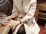 欧美高端精品棉麻女装修身中长款斗篷呢子大衣毛呢外套女