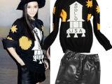 新款女式针织衫杨颖同款黑色火箭毛衣套头打底 明星同款 女装批发