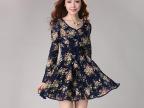 妃轩尔2014春季新款韩版修身正品长袖蕾丝印花雪纺品牌连衣裙