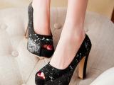 韩版新款鱼嘴厚底粗跟高跟罗马风凉鞋女鞋子一件代发*i091