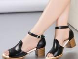 2014夏新款韩版休闲中跟女凉鞋时尚真皮鱼嘴粗跟糖果色防水台凉鞋