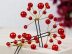 义乌新娘红色饰品手工头饰 韩式发饰 珍珠发簪 古装多变造型发夹