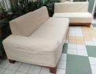 华日实木底架布艺沙发3 2 1,实餐桌1个 木椅4把