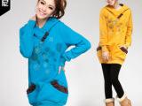 丹玛尼 2012卫衣女装套装 春秋新款 韩版大码带帽长款卫衣 女