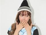 韩国EXO多色可爱尖尖毛线帽男女锥形针织帽 韩版卷边条纹秋冬20