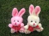 9CM小绣心兔子带丝巾小熊挂件,填充、毛
