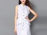 2015女装夏季连衣裙 欧美裙子 新款拼接衬衫裙 欧洲站连衣裙批