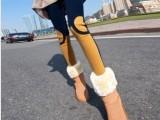 2014新款 韩国膝盖半圆两色拼接百搭修身九分打底裤