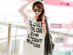 2014夏新款大码女装时尚韩版两边彩色拉链中长款宽松短袖t恤女