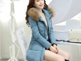 2014冬加厚中长款羽绒服女潮修身韩版气质奢华貉子毛领羽绒棉外套