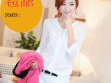 2014新款女装夏装 韩版雪纺衬衫女修身显瘦大码V领打底小衫