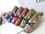 欧美休闲新款漆皮波点豆豆鞋真皮平底平跟鞋女单鞋驾车鞋孕妇鞋