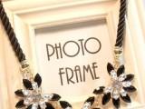 韩版流行时尚女夸张花朵水钻钻石宝石 编制绳短款锁骨链复古项链