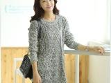 秋冬季韩版麻花套头中长款毛衣裙女宽松长袖圆领打底针织毛衫库存