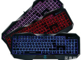 正品 狼蛛 八荒键盘 二代三色背光升级版 USB机械手感游戏键盘