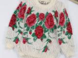 2015 品牌女童装秋装新款长袖韩版针织马海毛印花毛衣 厂家直销