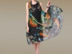 2014年夏季 GUCIUME 品牌连衣裙 欧美真丝雪纺无袖长款连衣裙