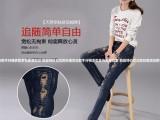 山东聊城品牌折扣尾货牛仔裤去广州大量高腰学生款牛仔裤低价清仓