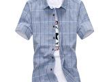 2015男士夏装衬衫时尚韩版格子衬衫短袖男衬衫潮流修身免烫衬衣潮