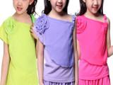 童装 2014新款女童夏装套装 韩版夏款短袖 哈伦裤休闲运动童套