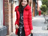 韩版女装冬装外套中长款毛领潮棉衣修身羽绒棉服加厚(毛领可卸)