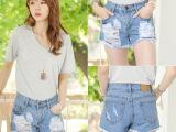 厂家直销 夏季韩版牛仔裤显瘦宽松高腰破洞牛仔短裤批发 一件代发