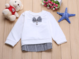 2015秋季新款童装儿童针织衫批发 白色带蝴蝶结纽扣长袖