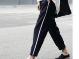 优质欧美风 简约休闲运动宽松显瘦西装运动裤九分裤哈伦裤