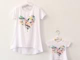 厂家直销 2014夏季韩国新款 蝴蝶印花亲子装长款t恤 母女装批