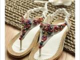夏季甜美休闲串珠波西米亚平跟凉鞋女鞋夹趾平底鞋 厂家一件代发