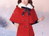 柏俏新款秋冬斗篷呢子外套女韩版中长款修身毛领毛呢大衣女装秋装