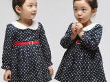 2014春季新款女童裙 外贸小洋装波点连衣裙 童装背心裙秋装森女