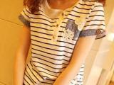 2014夏季新款日系文艺范立体雕花口袋横条纹个性全棉短袖t恤 女