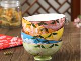 【瑜美陶瓷】日式彩绘花陶瓷碗 4.5寸饭碗5件套 五彩碗 餐具套
