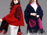 春装新款女装针织开衫中长款百搭斗篷式披肩毛衣女秋冬外套女