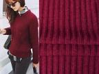 枣红色毛线布料 条纹针织毛衣布 秋冬打底衫服装面料一件代发