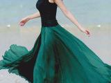 两穿时尚仿真丝韩国外贸半身裙 职业大摆纯色外贸半身裙 批发