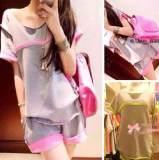 2014韩版运动休闲套装 拼色卷边短袖T+粉色边短裤2件套