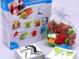 3岁以上儿童益智早教启蒙玩具卡通动物字母学习卡 木制立体拼图板